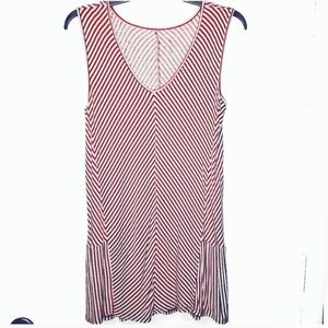 Red and White Small Striped Sleeveless Top